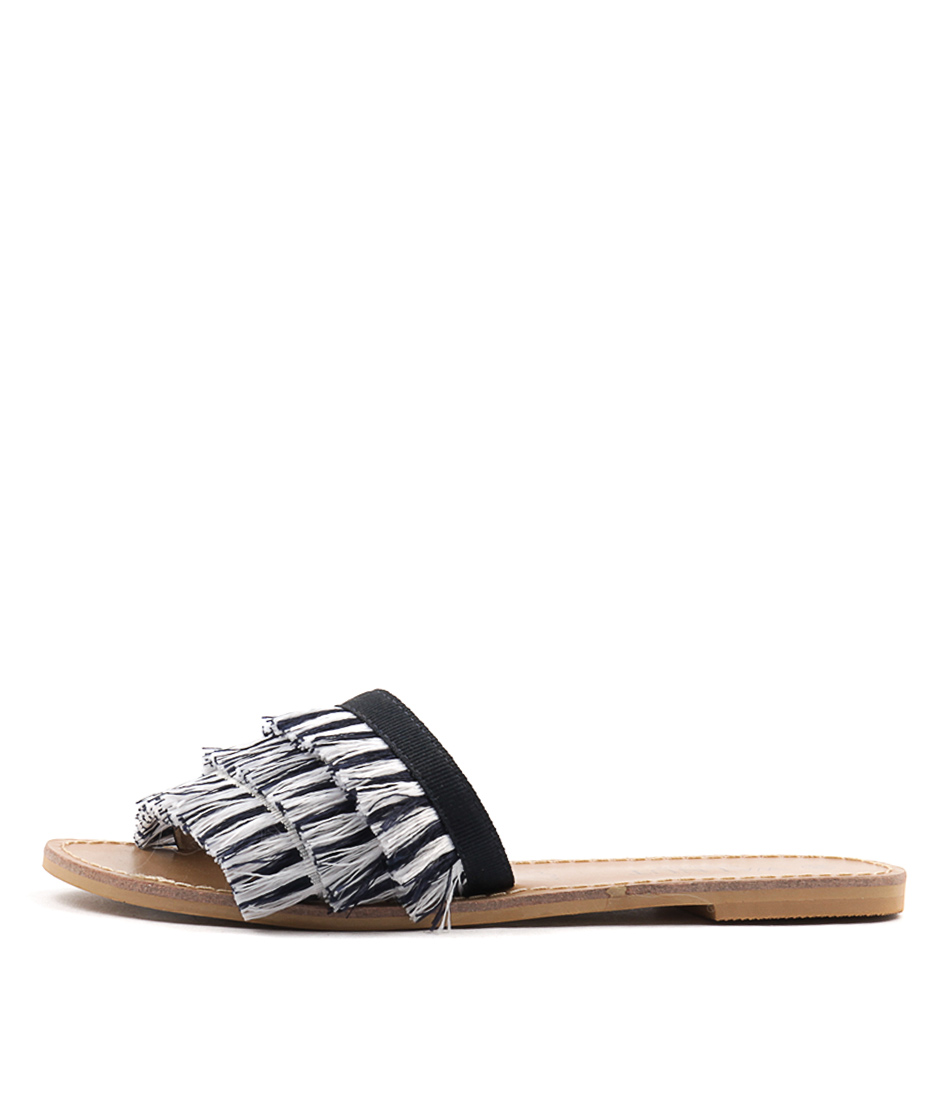 Buy Walnut Mykonos Slide Black White Sandals online with free shipping