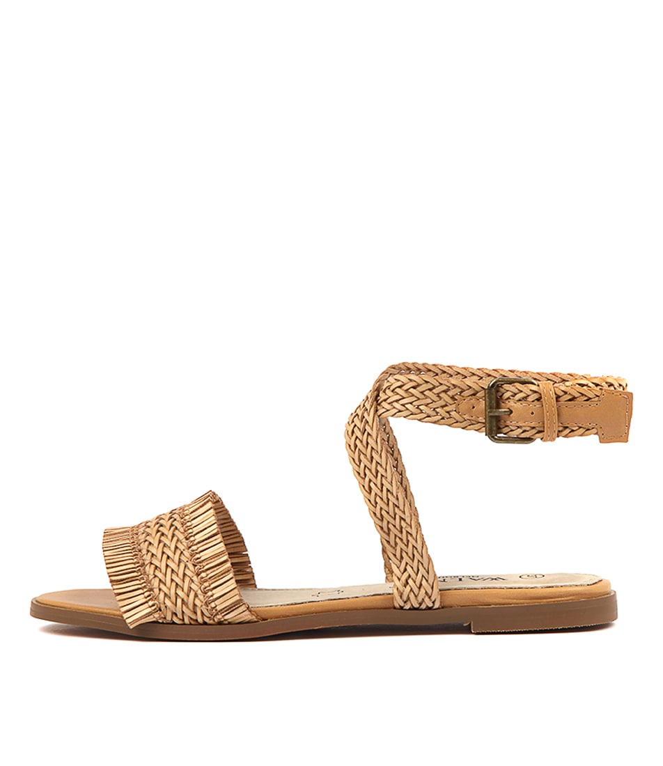 Buy Walnut Allegra Fringe Sandal Tan Flat Sandals online with free shipping