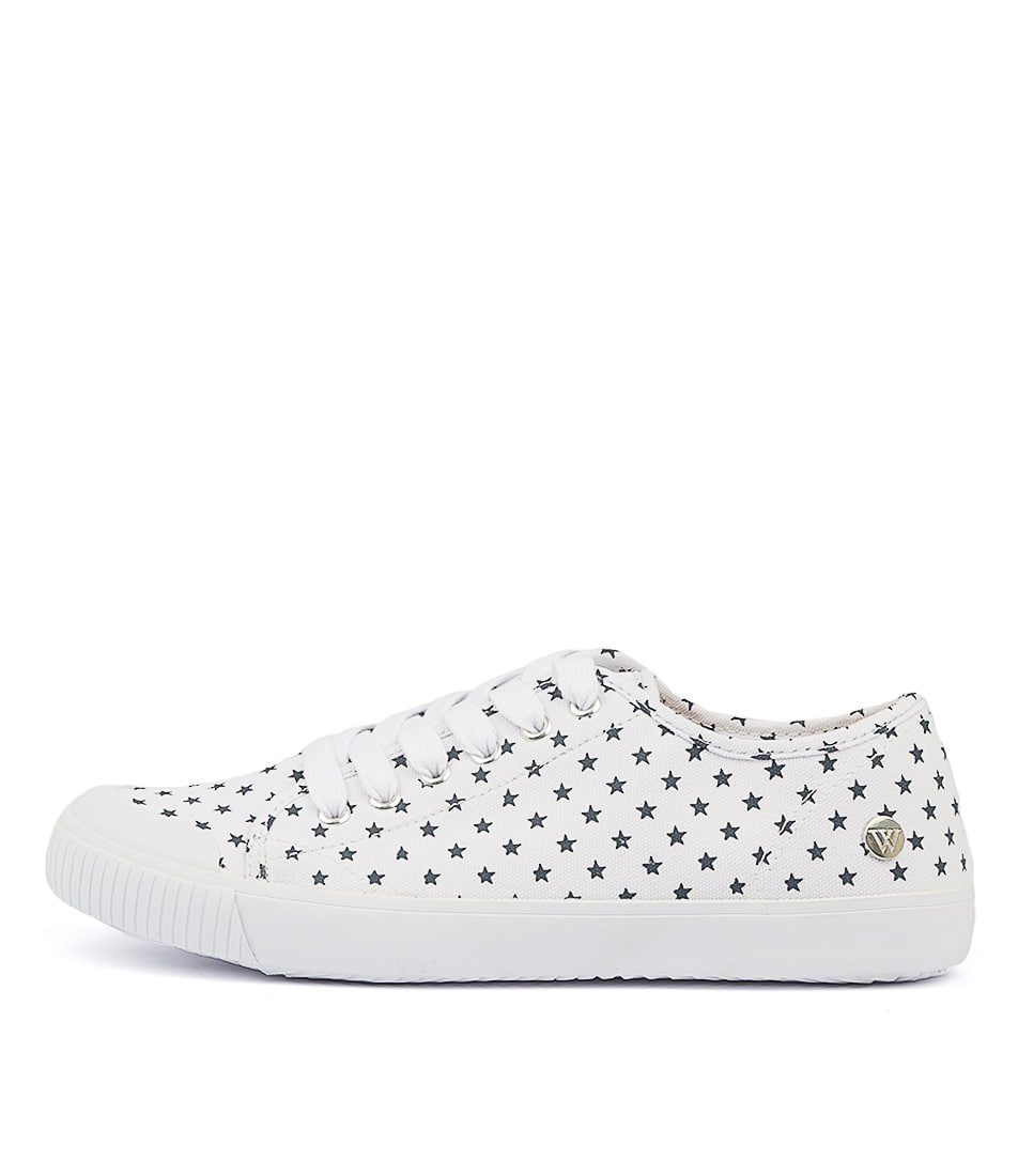 Buy Walnut Empire Canvas White Navy Star Sneakers online with free shipping