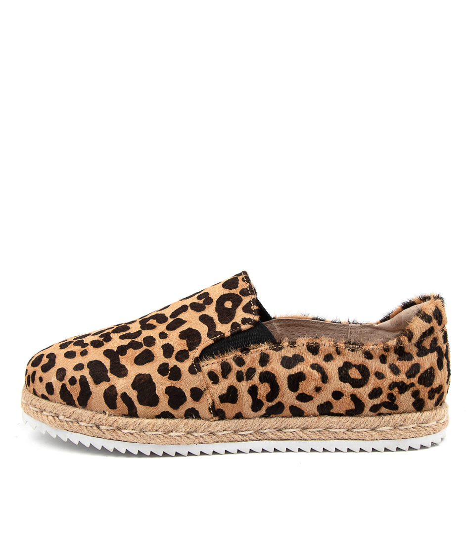 Buy Walnut Goldie Espadrille Wa Tan Leopard Flats online with free shipping