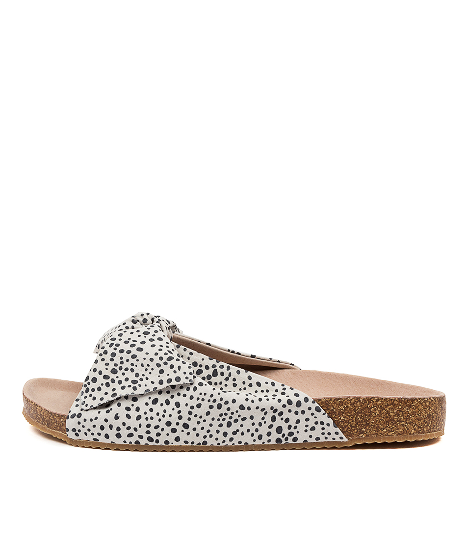 Buy Walnut Somerset Leather Slide Wa Black Spot Flat Sandals online with free shipping