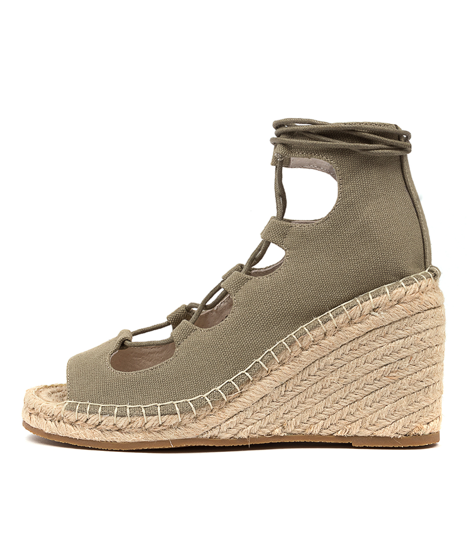Buy Walnut Vine Canvas Wedge Wa Khaki Heeled Sandals online with free shipping