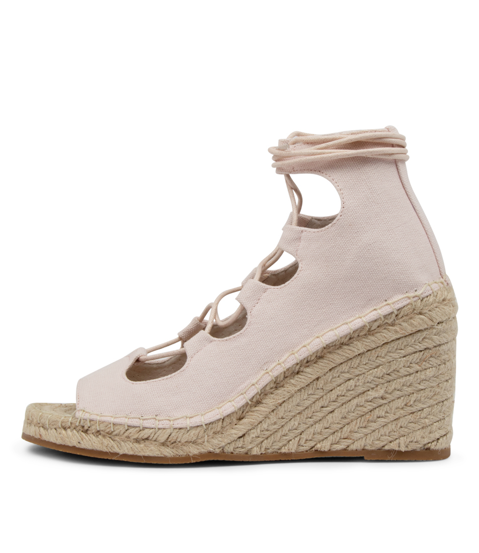 Buy Walnut Vine Canvas Wedge Wa Pale Pink Heeled Sandals online with free shipping