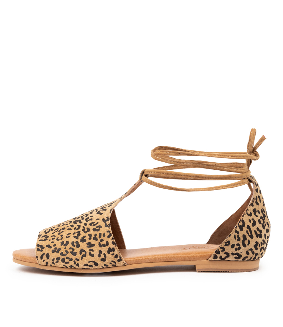 Buy Walnut Voilet Sandal Wa Tan Leopard Flat Sandals online with free shipping