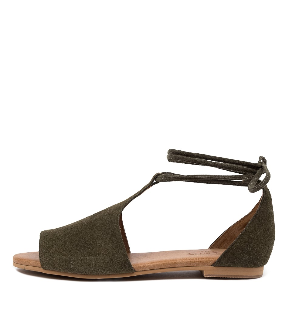 Buy Walnut Voilet Sandal Wa Khaki Flat Sandals online with free shipping