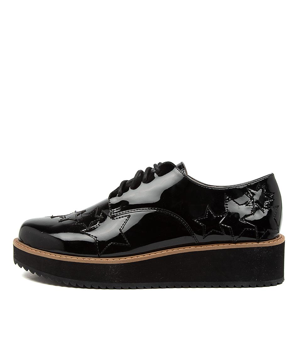 Buy Walnut Magic Star Lace Up Wa Black Flats online with free shipping