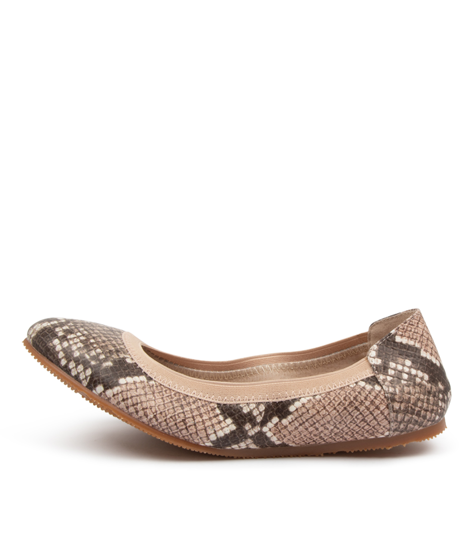 Buy Walnut Ava Ballet Python Wa Blush Flats online with free shipping
