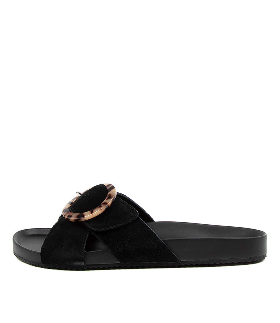 Buy Walnut Penny Wa Black Flat Sandals online with free shipping