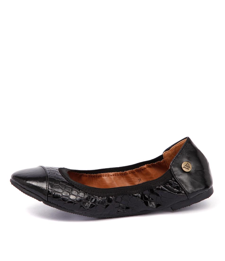 Walnut Kate Croc Metallic Black Casual Flat Shoes