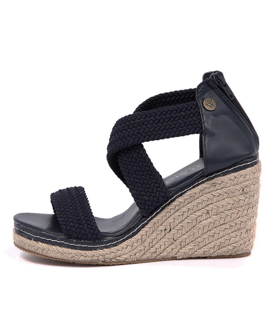 Walnut Dusty Wedge Navy Casual Heeled Sandals