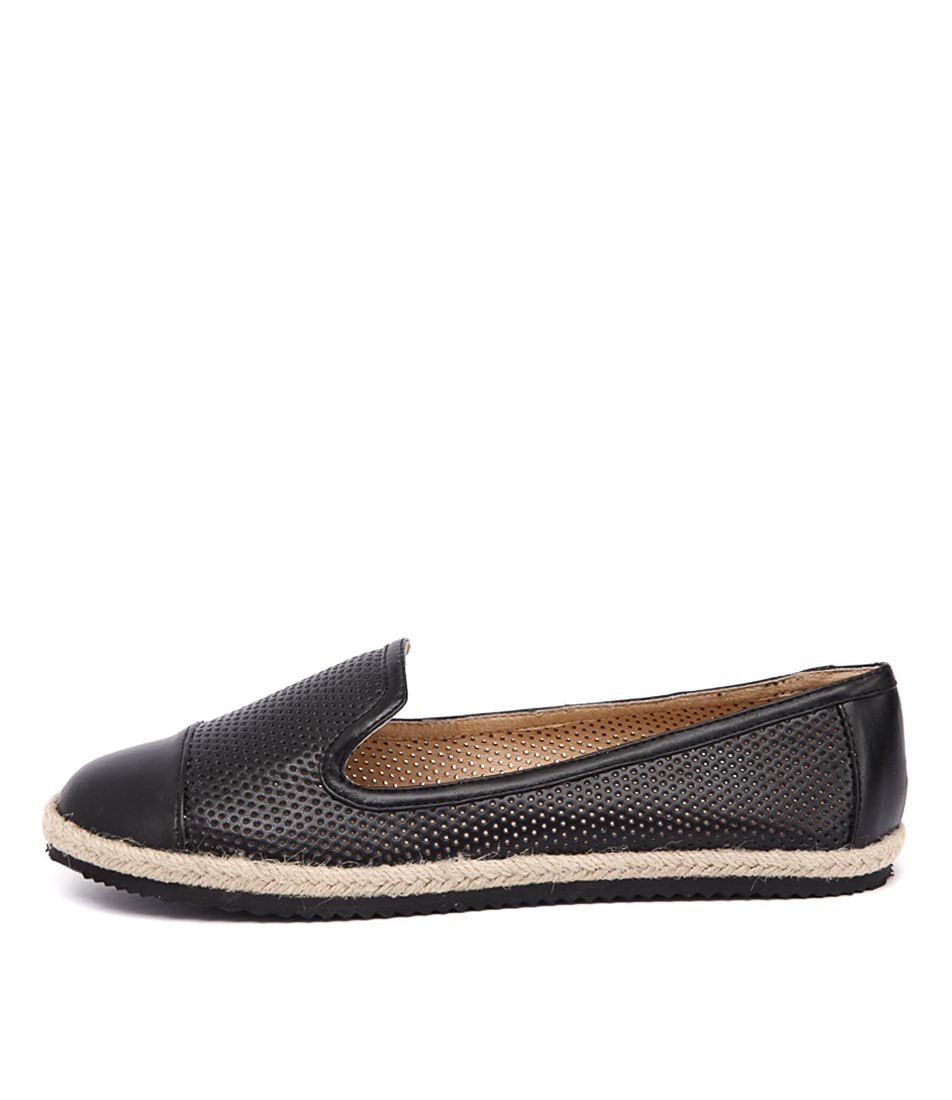 Walnut Astrid Perf Loafer Black Flat Shoes