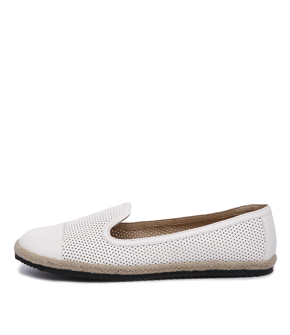 Walnut Astrid Perf Loafer White Casual Flat Shoes