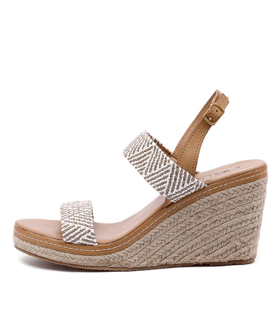 Walnut Cindy Strap Wedge Taupe White Heeled Sandals
