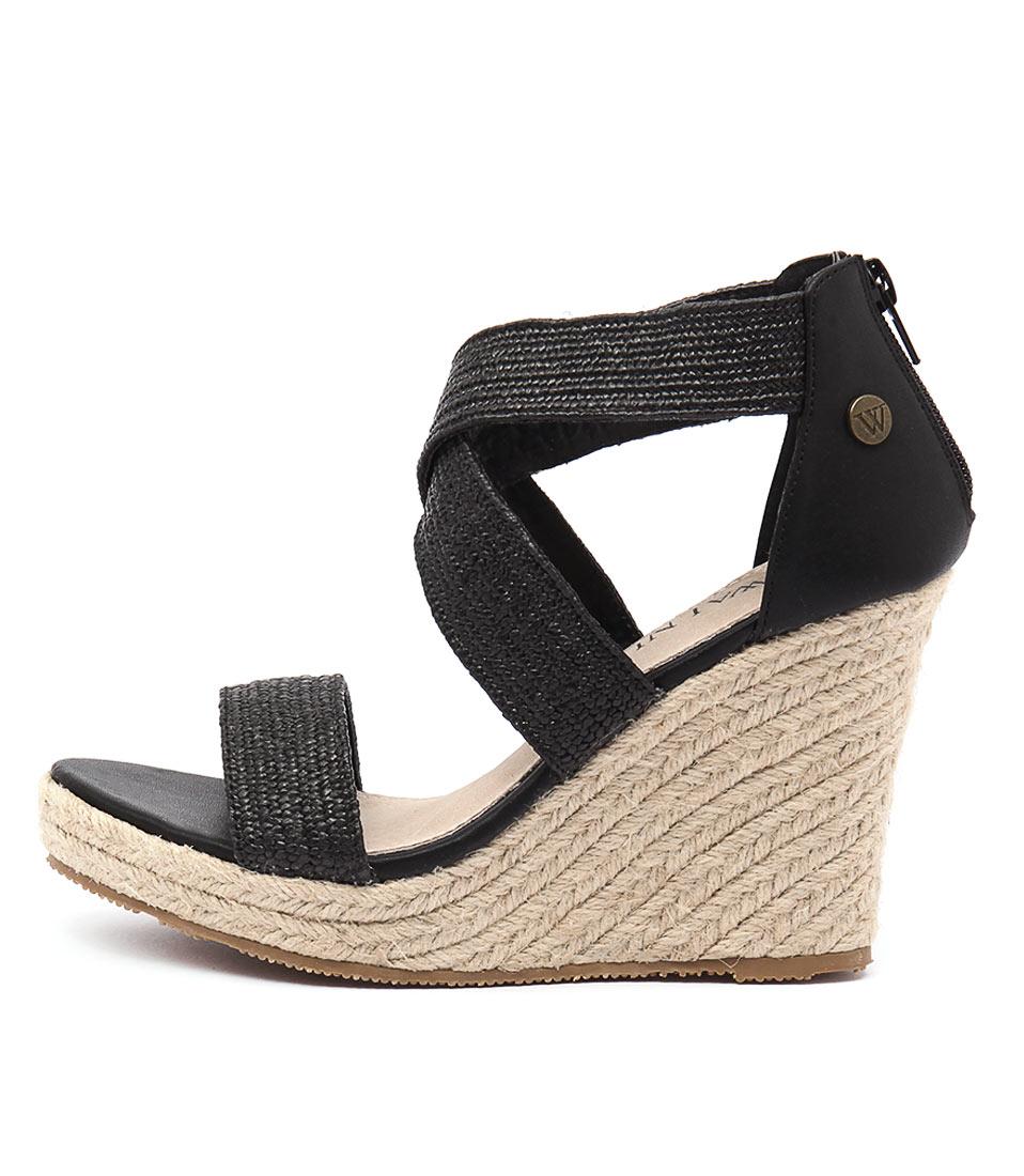 Walnut Dusty Wedge Black Casual Heeled Sandals