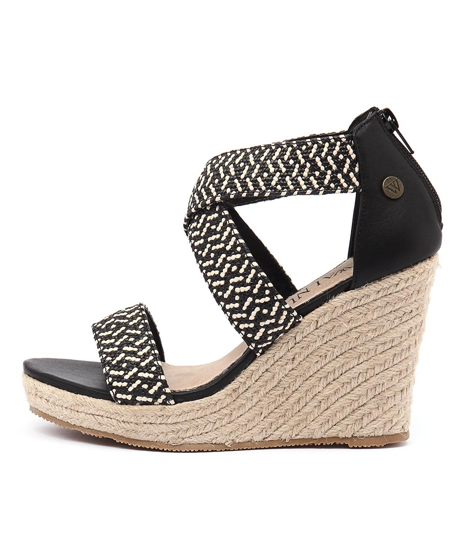 Walnut Dusty Wedge Black Combo Heeled Sandals