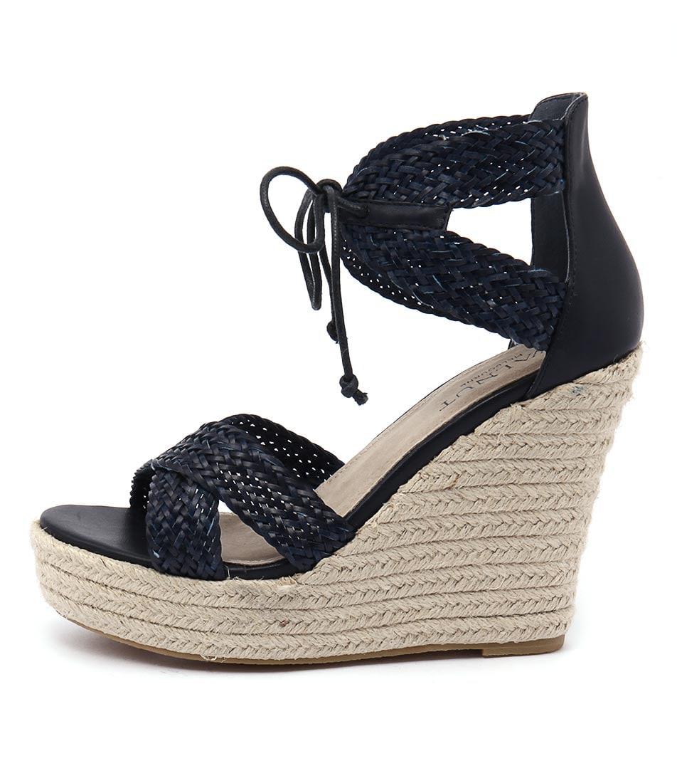 Walnut Rio Wedge Navy Sandals
