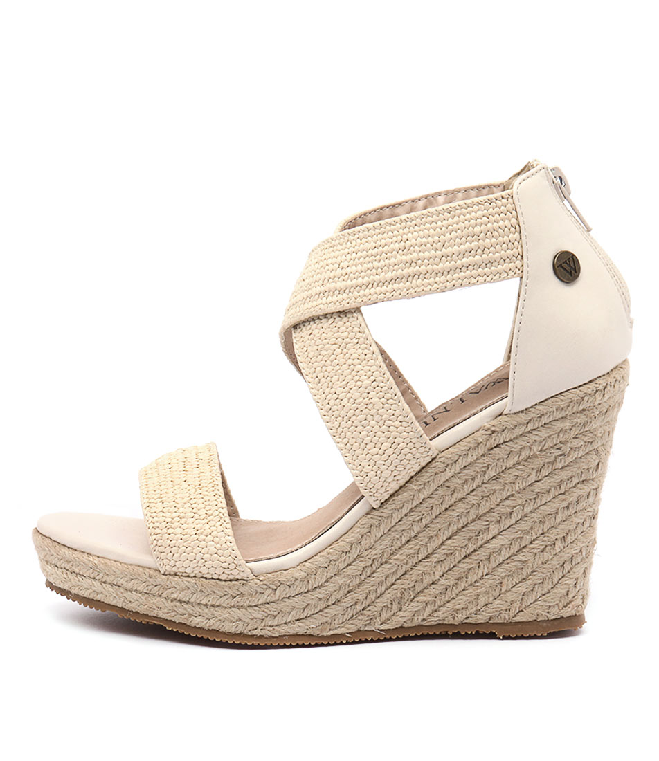 Walnut Dusty Wedge Natural Casual Heeled Sandals