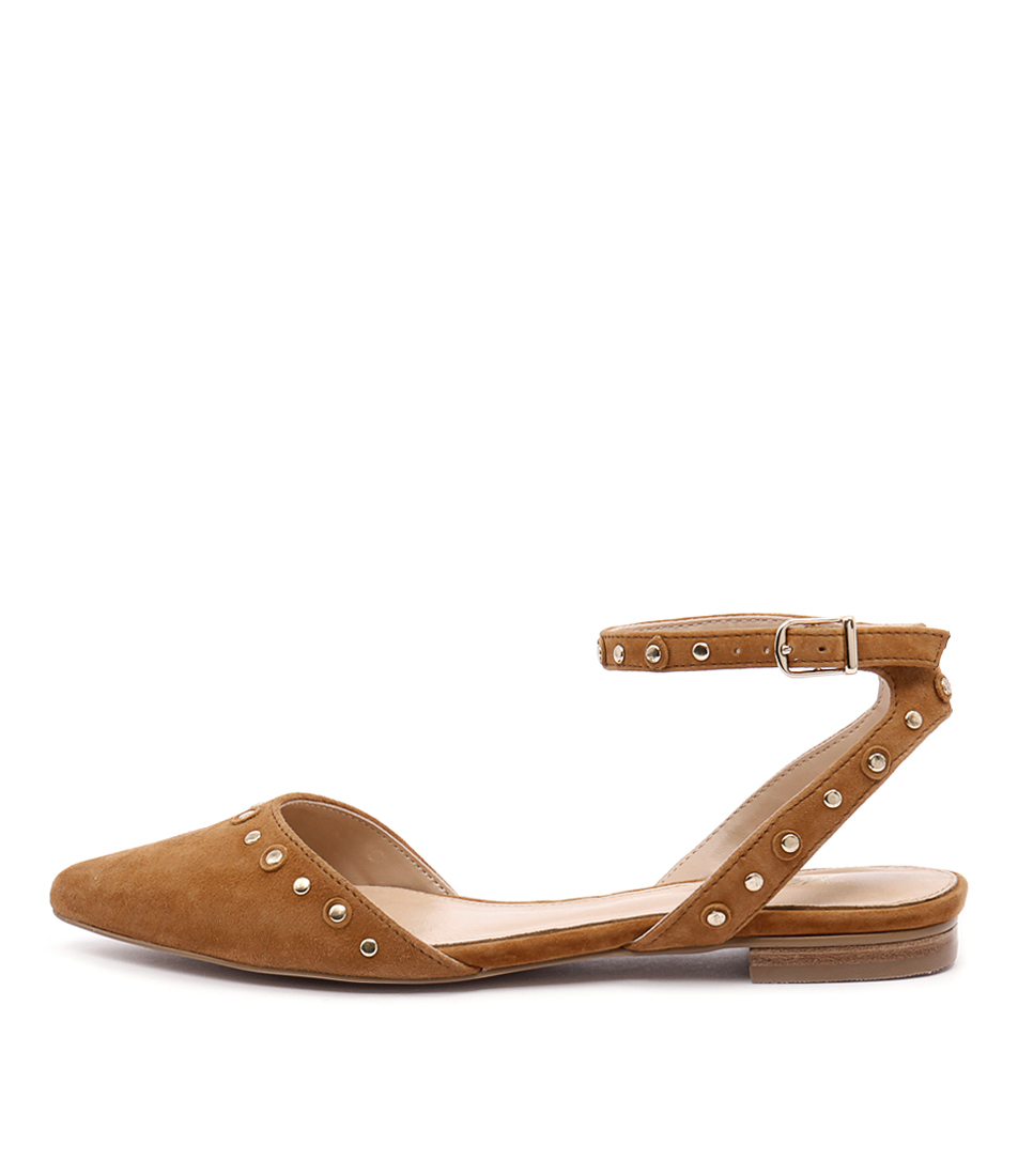 Wanted Cabella Tan Gold Studs Flat Shoes
