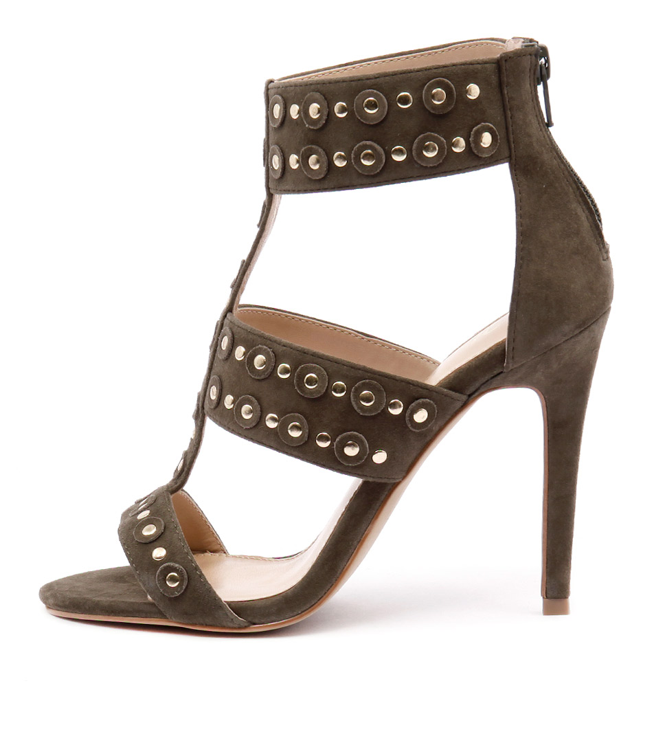 Wanted Salento Khaki Gold Stud Heeled Sandals