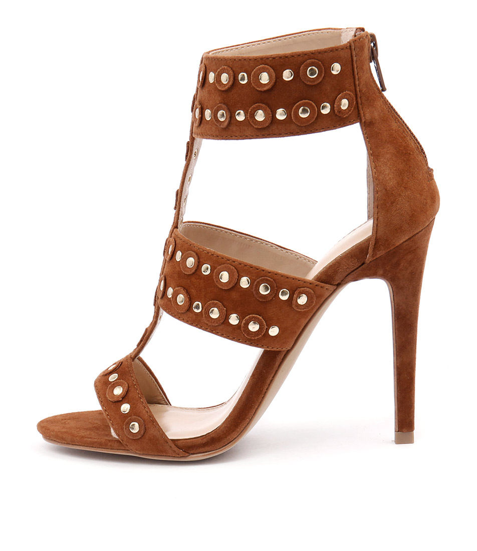Wanted Salento Tan Gold Studs Heeled Sandals