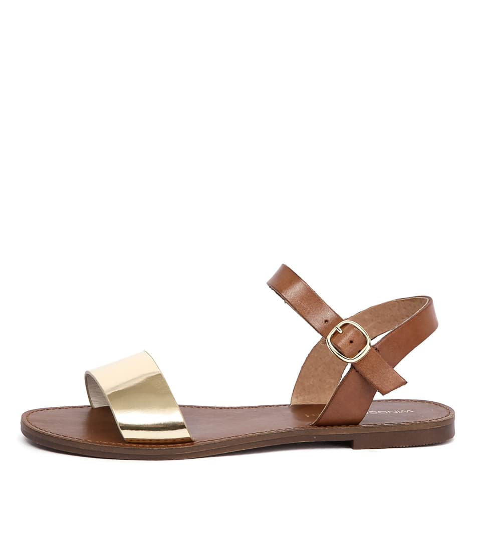 Photo of Windsor Smith Bondi Ws Gold Tan Flat Sandals womens shoes