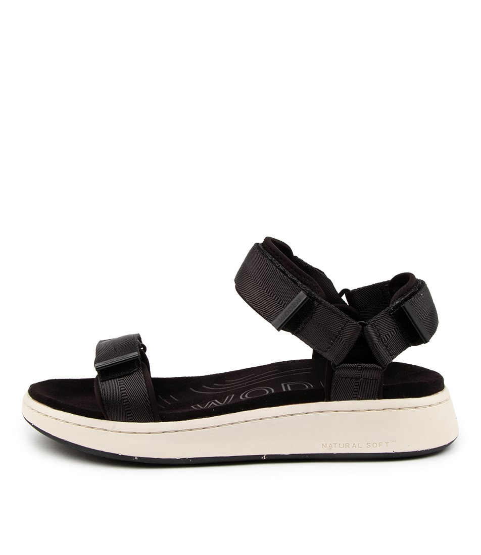 Buy Woden Line Wu Black Flat Sandals online with free shipping