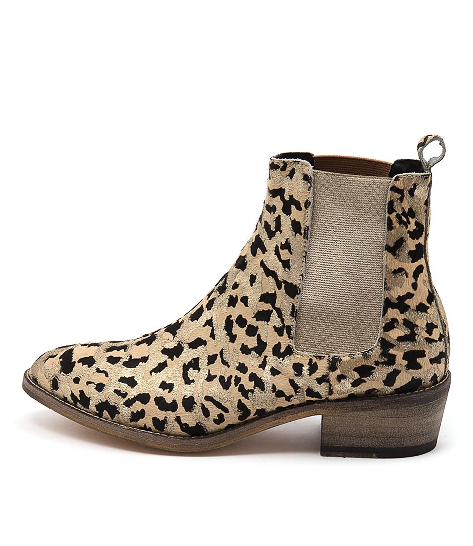 New Mollini Zallas gold Ocelot Womens shoes Casual Boots Ankle