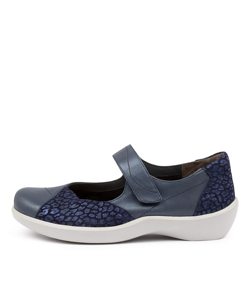 Buy Ziera Ariel W Zr Navy Navy Print Flats online with free shipping