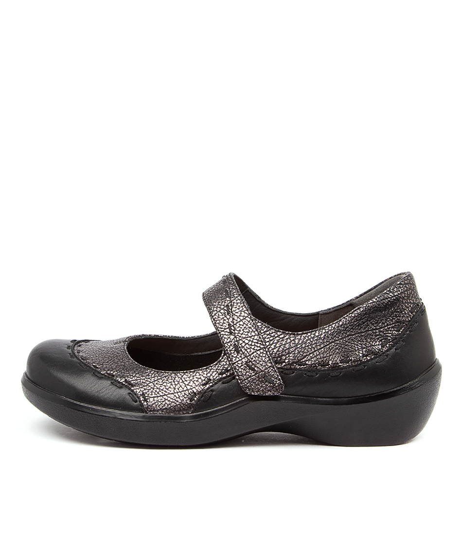 Buy Ziera Gummibear W Zr Black Antique Pewter Flats online with free shipping