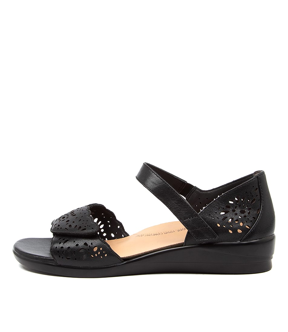 Buy Ziera Dusty W Zr Black Flat Sandals online with free shipping