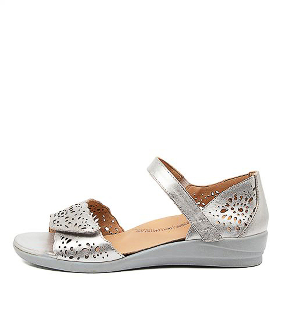 Buy Ziera Dusty W Zr Silver Flat Sandals online with free shipping