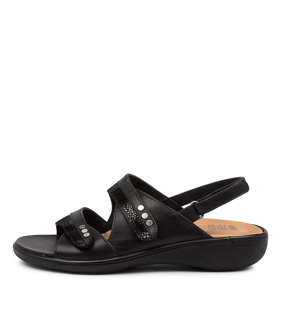 Buy Ziera Bizzy W Zr Black Stingray Black Flat Sandals online with free shipping