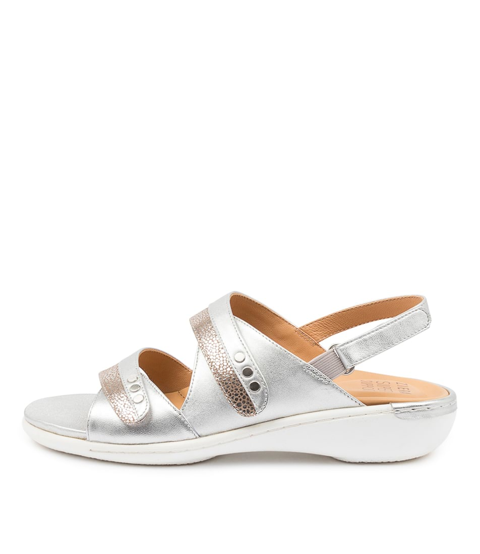 Buy Ziera Bizzy W Zr Platinum Stingray Silver Flat Sandals online with free shipping