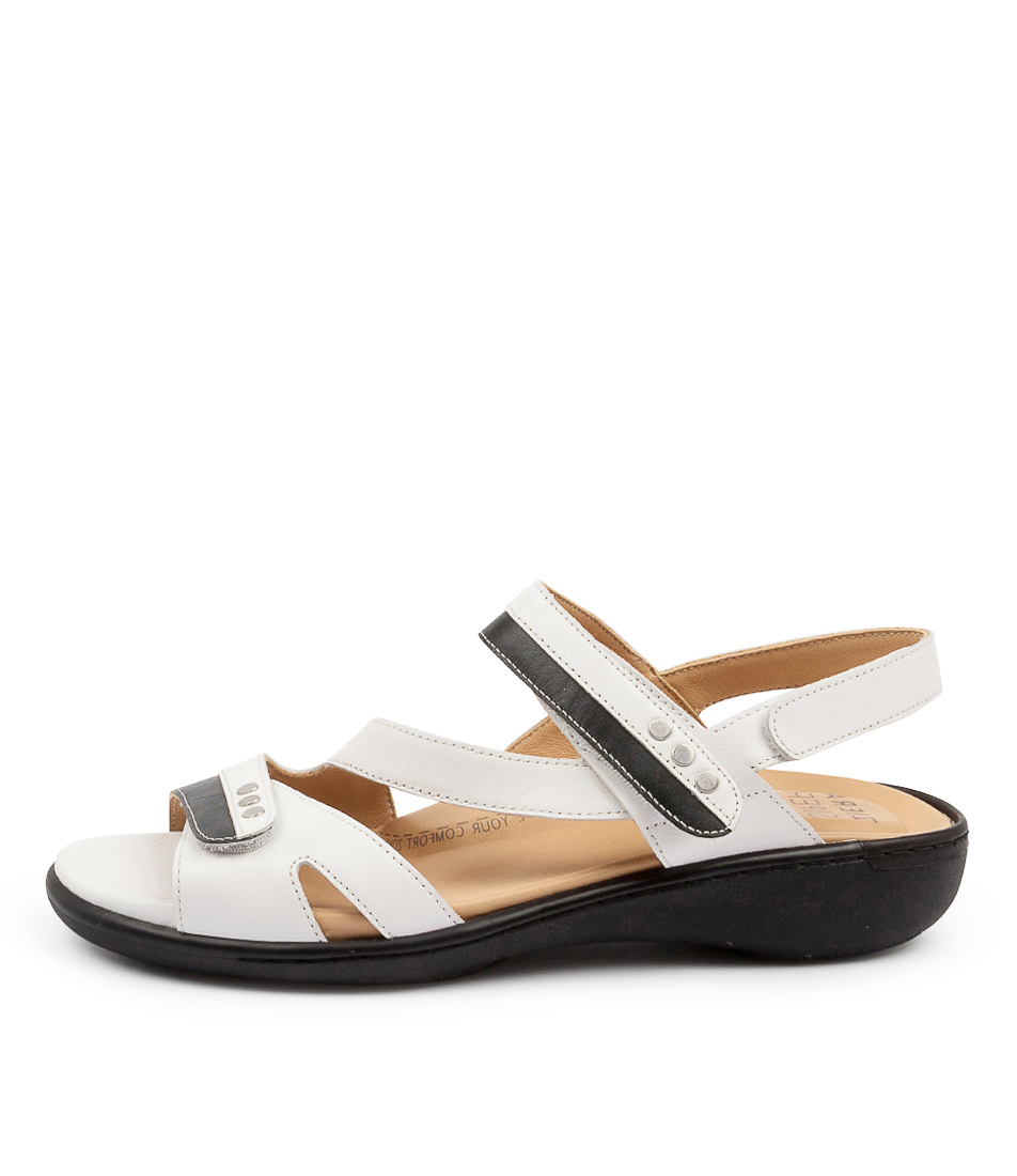 Buy Ziera Beaux W Zr Black White Flat Sandals online with free shipping