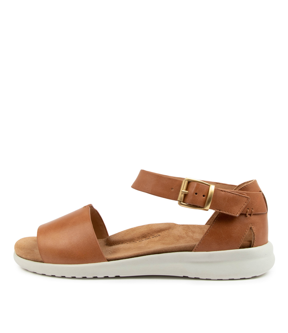 Buy Ziera Beverly Xw Zr Tan White Sole Flat Sandals online with free shipping