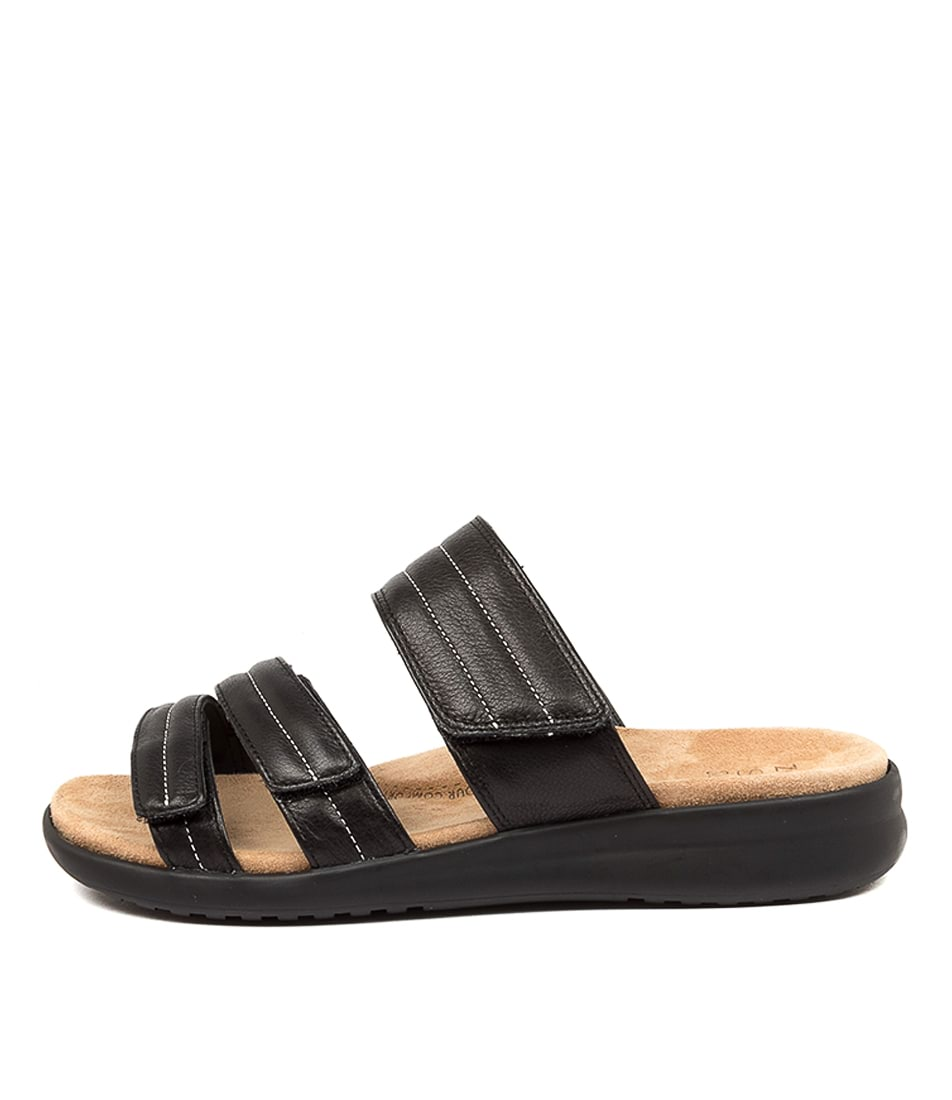 Buy Ziera Barbra Xw Zr Black Sole Flat Sandals online with free shipping