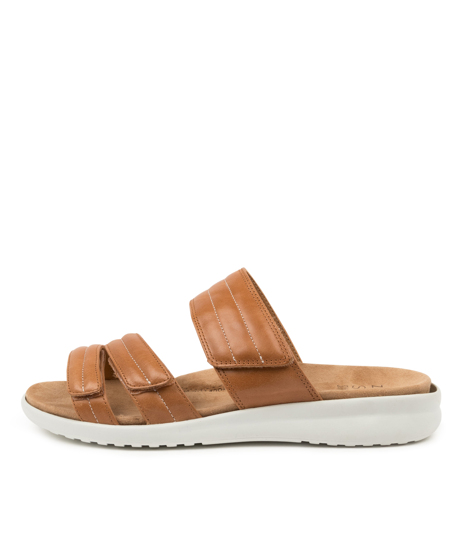 Buy Ziera Barbra Xw Zr Tan White Sole Flat Sandals online with free shipping