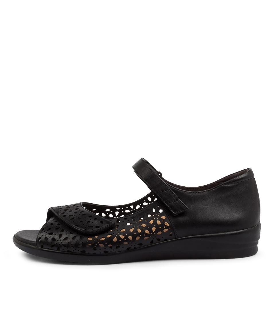 Buy Ziera Daffodil W Zr Black Flat Sandals online with free shipping