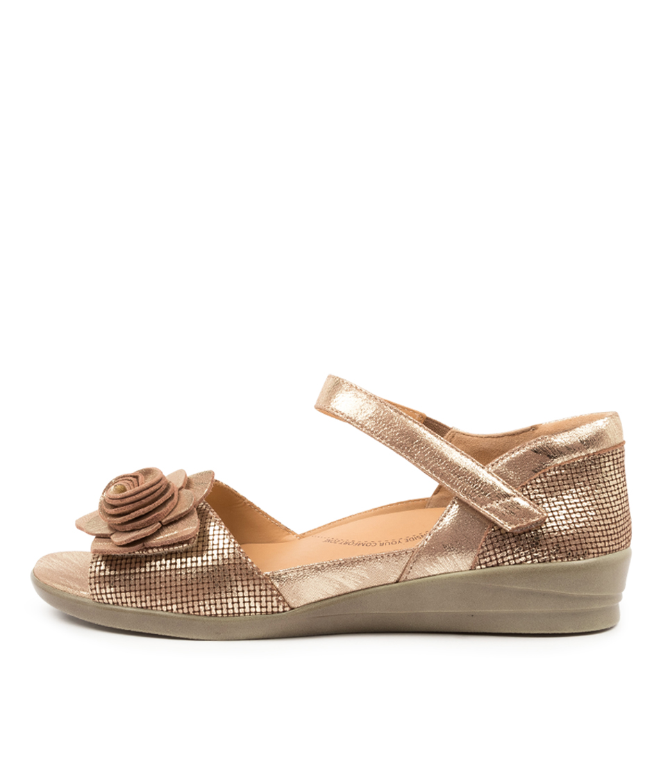 Buy Ziera Delta W Zr Old Gold Flat Sandals online with free shipping