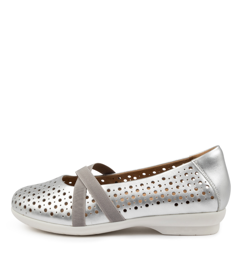 Buy Ziera Happen Xf Zr Silver Flats online with free shipping