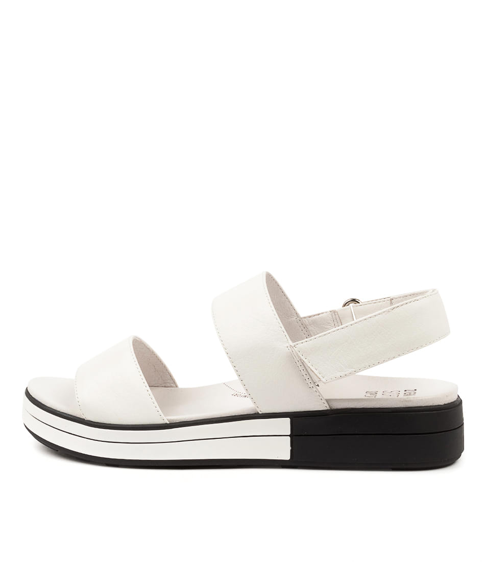 Buy Ziera Sherri W Zr White White & Black Sole Flat Sandals online with free shipping