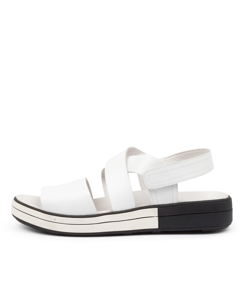 Buy Ziera Sven W Zr White White & Black Sole Flat Sandals online with free shipping