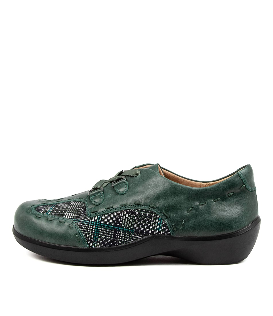 Buy Ziera August Xw Zr Emerald Teal Check Flats online with free shipping