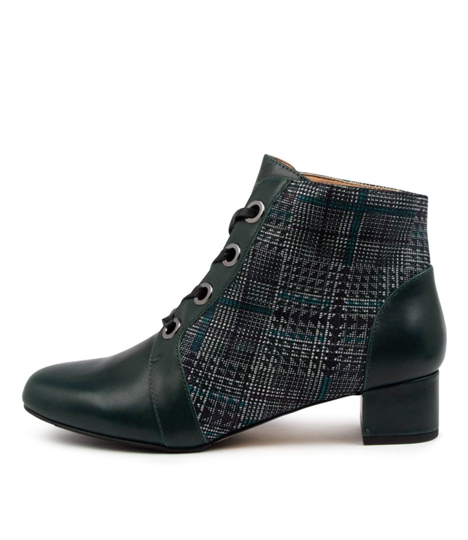 Buy Ziera Knox W Zr Forest Teal Check Ankle Boots online with free shipping