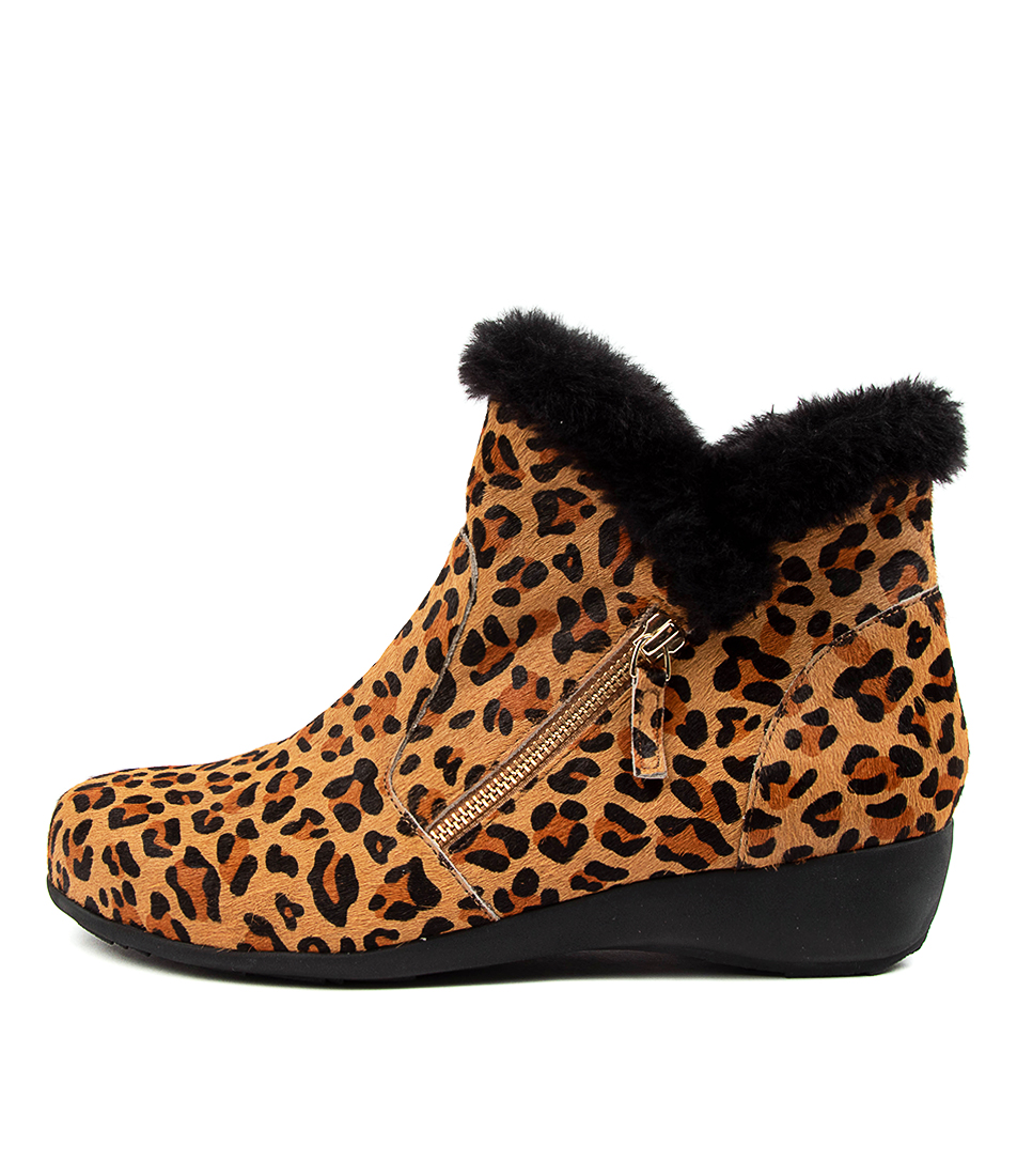 Buy Ziera Sandy Xf Zr Tan Leopard Black Fur Ankle Boots online with free shipping