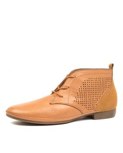 OLIEE DF TAN LEATHER EMBOSS SUEDE