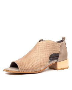 NATALY DJ BEIGE TAUPE CUT LEATHER LEATHER