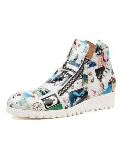 NATHEN CRAZY PRINT WHITE SOLE LEATHER