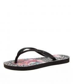 KIDS SLIM PRINTS HV FLORAL BLACK RUBBER
