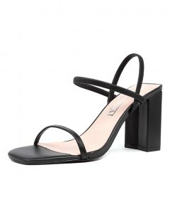 LILY HEEL SS BLACK LEATHER